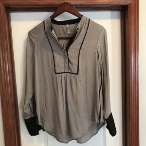 Free People Black/Grey Covered Buttons Blouse S